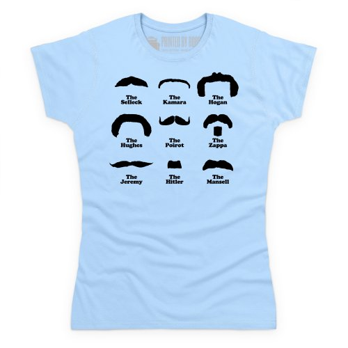 Moustache Hall of Fame T-Shirt, Damen Himmelblau