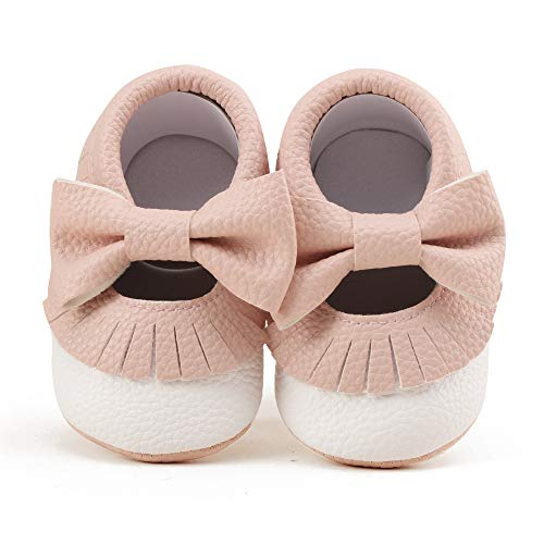 OOSAKU Baby Jungen Weiche Sohle PU Leder Mokassins Anti Rutsch Säuglingskleinkind Pre Walking Krippe Schuhe mit Quaste Bowknot weiß pink -