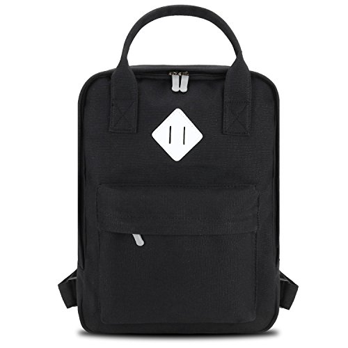 bagerly-classic-canvas-backpack-lightweight-casual-daypacks-school-bookbags-up-to-15-inch-black