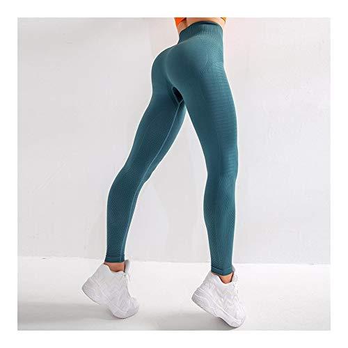 ManYFas Peach Hip Fitness Pants Women hohe Taillen-Feste Nahtlose Yoga-Hosen schnell trocknend atmungsaktiv Jogginghose (Farbe : Blau, Size : S) -