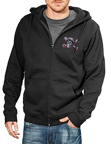 Baddery Motorrad-Jacke: Speed Junkies mit Stickerei Totenkopf - Geschenk für Biker/Sweat mit Kapuze/Zip Hoody/Kapuzen-Pullover/Urban Hoodie/Chopper/Hooded-Jacket/Skull/USA/Bike (XXL)