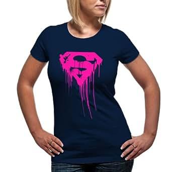loud superman drpping logo t shirt femme bleu v7. Black Bedroom Furniture Sets. Home Design Ideas