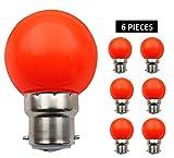 JCKing (Packung mit 6) B22d Golfball Biergartenbeleuchtung Lampen Farbiges Glühbirnen für Terrasse Party Weihnachten - Rosa Fluorescente