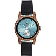 Premium en bois horloge Tense Womens Leather Hampton (fabriqué en Canada)–Bois de Noyer–Türkies cadran–Montre Femme m4701W T-shirt