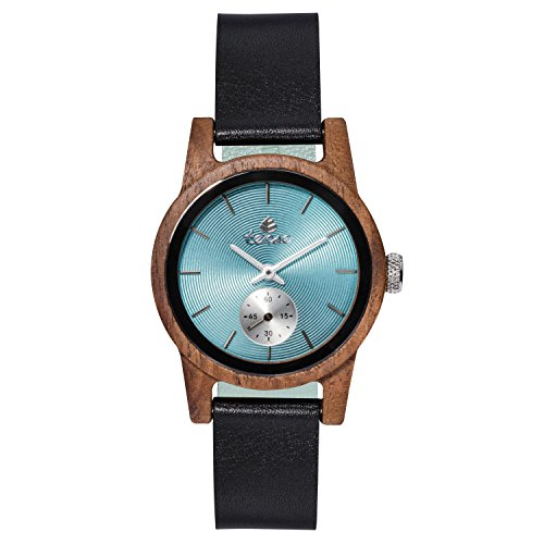 TENSE // Die Holzuhr - Womens Leather Hampton made in Canada Walnussholz - türkies Ziffernblatt - Damen-Uhr - Holz-Uhr M4701W-T