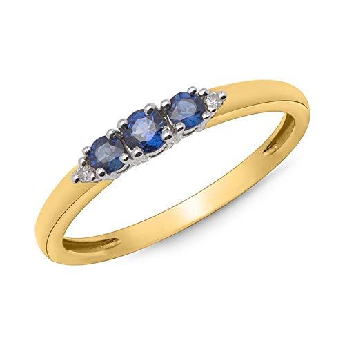 585er Gold-Ring mit 3 Saphiren 0,377 ct. 2 Diamanten