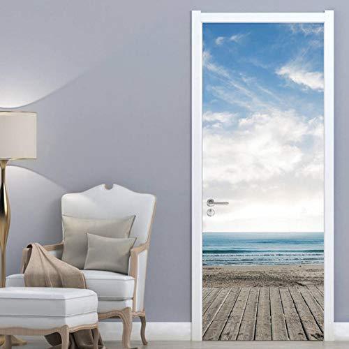 Türtapete Türbild Aufkleber Pvc Selbstklebend Blauer Himmel Und Weiße Wolken Meer Tapete Fototapete Türposter Türtapeten 90X210Cm