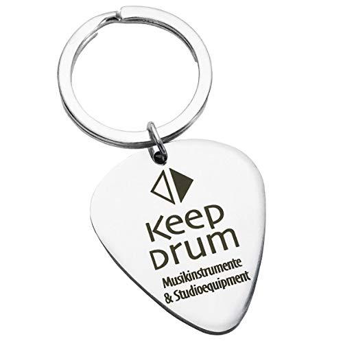 keepdrum - Ciondolo a forma di plettro, in acciaio INOX