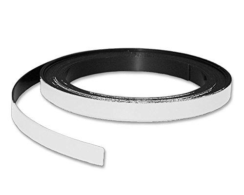 Magnetband Kennzeichnungsband farbig, Breite 10mm - 5m Rolle - Magnetstreifen - Zum Beschriften und Markieren, von Lager, Werkstatt, für Whiteboards, Flipcharts, Präsentationen, Farbe:weiß