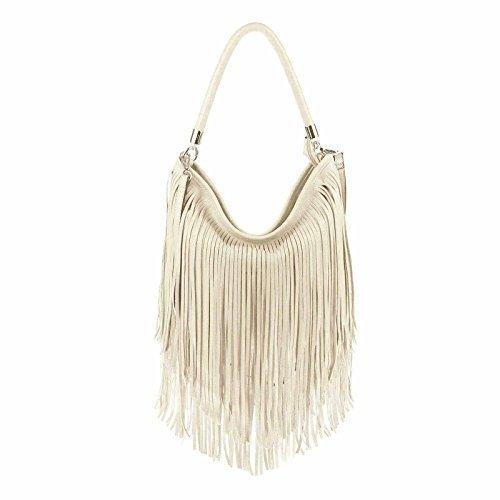 d043334d93d70 ital-design Damen Tasche Fransen Shopper Hobo-Bags Umhängetasche  Schultertasche Handtasche Henkeltasche Schwarz Cream