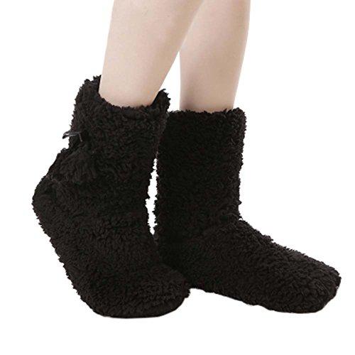Weiche warme Socken Fleece Socken halten Warm Winter Haushalt Boden Socken Urlaub Socken für Frauen, schwarz (Weiche Fuzzy-socken Gestreifte)