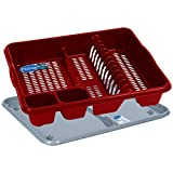 Primeway® Wham Casa Large Plastic Dish Drainer with Tray (Red)