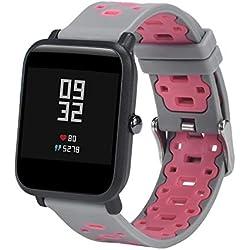 JiaMeng Ligera de Pulsera de Silicona Wristband Pulsera de Repuesto para Amazfit Bip Youth Watch(Gris + Rosa)