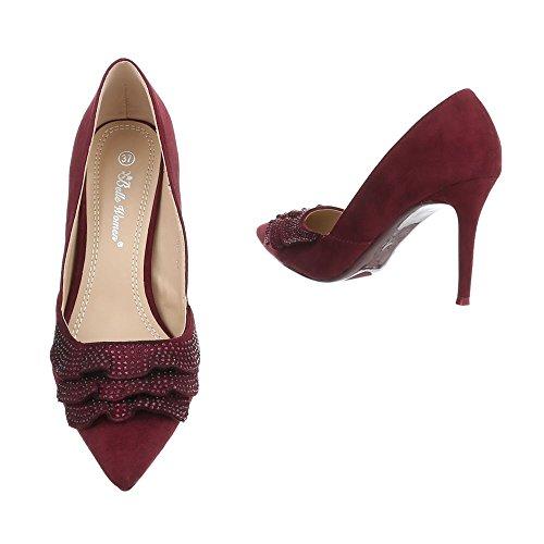 Ital-Design Scarpe da Donna Scarpe Col Tacco Tacco a Spillo Scarpe con Tacco Alto Bourgogne
