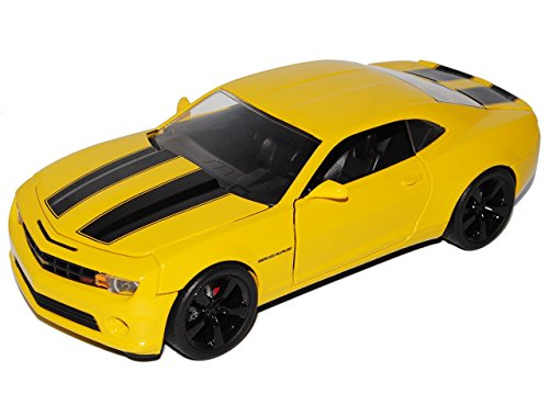 Chevrolet Chevy Camaro Ss RS 2010 Coupe Gelb Schwarze Streifen Bumble Bee Bumblebee TransformeRS 1/24 Jada Modellauto Modell Auto (Bumble Bee-transformer-auto)