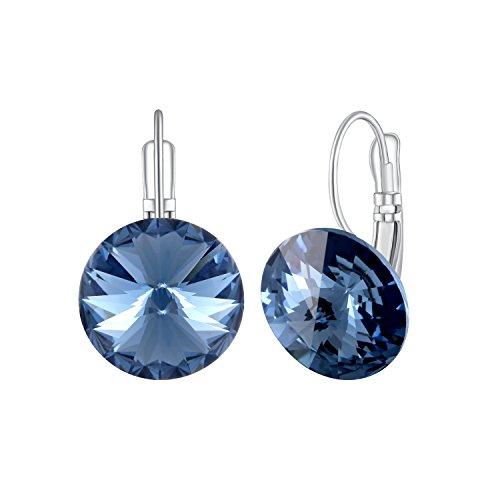Plato H signore trafitto orecchini orecchini delle donne con Ocean Blue rotonda Swarovski pendente regalo di cristalli di moda