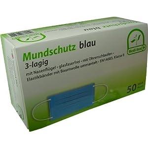 Mundschutz 3-lagig mit Nasenbügel glasfaserfrei mit Ohrenschlaufen 50 Stück von Medi-Inn