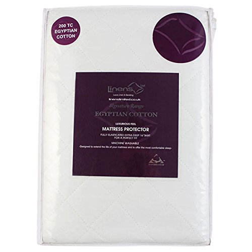 Linens Limited 100% Egyptian Cotton Quilted Mattress Protector, Extra Deep, Double
