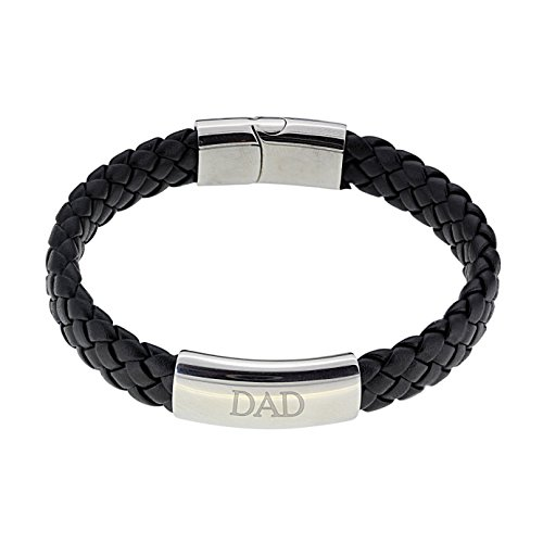 Vince Firestone Black Leather Bracelet Engraved with 'DAD' Gift Boxed