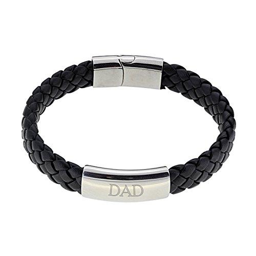 Vince Firestone Black Leather Bracelet Engraved with 'DAD' Gift Boxed