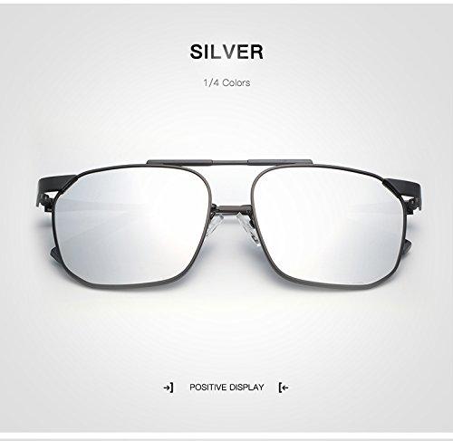 WARM home Wunderschönen Modemarke Designer Unisex Platz Sonnenbrille Männer Frauen Polarisierte Mann Frau Brille Retro Oculos Eyewear Mit Fall Geschenk (Color : Silver)