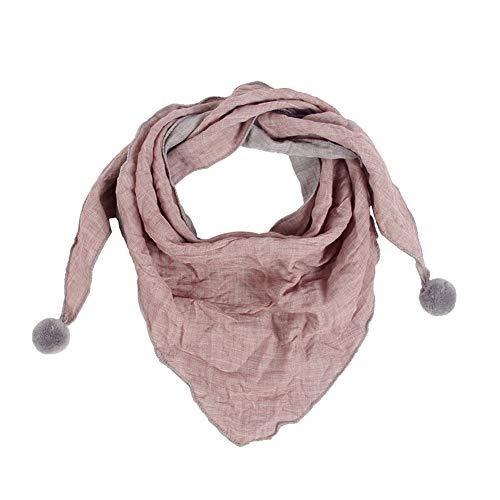 Westeng Kinder Schals Niedlich Dreieck Schal aus Baumwolle mit Haarball, Warmer und Winddicht Halstücher für Winter (Rosa)