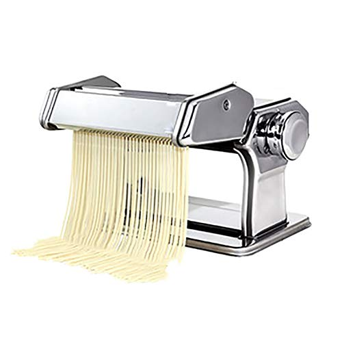 CRJT Shop Hand Crank Pasta Maker, Stainless Steel Household Manual Noodle Cutter Small Pasta Machines for Make Fresh Homemade Fettuccine Spaghetti Lasagne (Color : Silver)