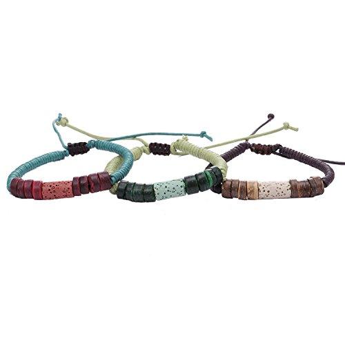 Morella Unisex Armband Set handgemacht bestehend aus 3 Armbändern in Naturtönen