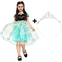 Katara - Disfraz de princesa Anna, Reina de las Nieves - Vestido de coronación con decoración floral y tiara para niñas de 8-9 años, color turquesa