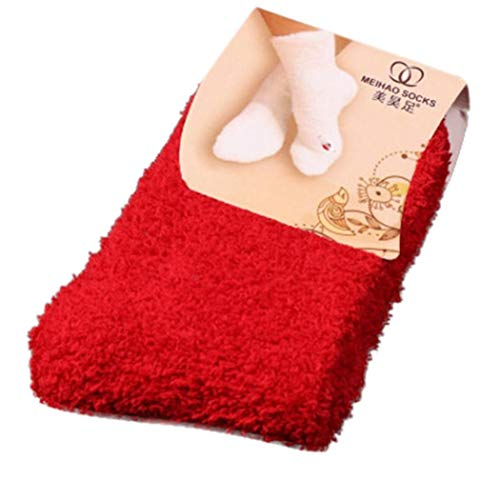 Jaysis Home Women Girls Soft Bed Floor Socks Fluffy Warm Winter Pure Color Candy Colored Coral Velvet Socks