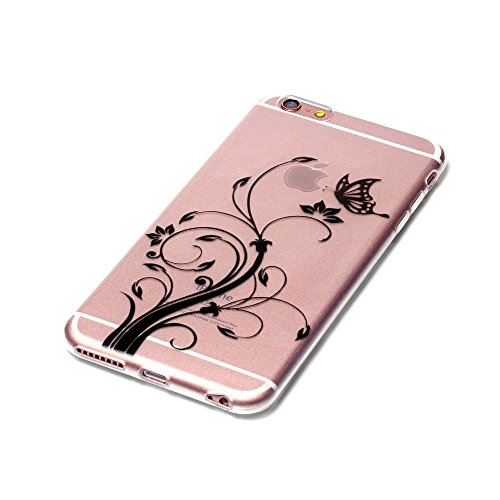 iPhone 6S Hülle, SHUNDA Ultra Dünn Schutzhülle Weiche TPU Silicone Stoßstangen Handyhülle Abdeckung Rückschale Case cover für iPhone 6 / 6S (4.7 inch) - Rosa Marmor Schmetterling