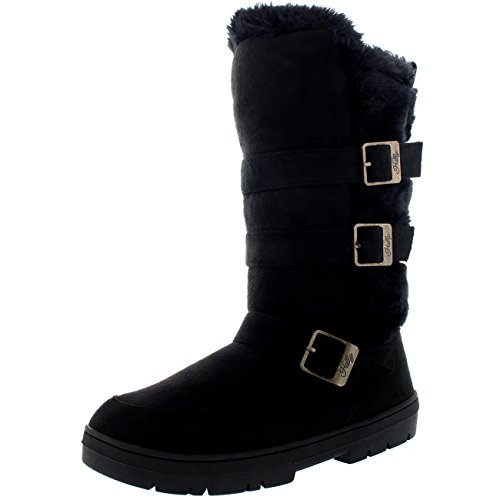 Holly Damen Triple Buckle Pelz Gefüttert Wasserdicht Winter Schnee Lange Mitte Wade Sitefel - Schwarz/Schwarz Pelz - UK4/EU37 - BA0465 (Wade Mitte Schnalle Stiefel)