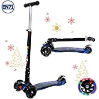 Kids Scooter Kick Scooter 3 Wheels for Boys and Girls Age 3-8 Years Old, LED Light UP Wheels, Foldable Adjustable Handlebar, Lean to Steer, Upgraded Wheels
