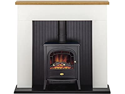 Adam Innsbruck Stove Suite in Pure White with Dimplex Club Electric Stove in Black, 48 Inch