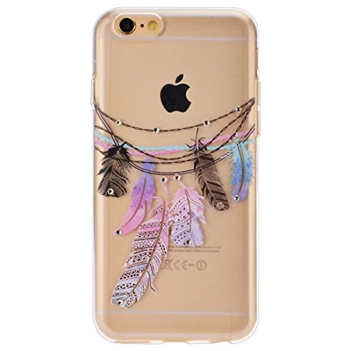 iPhone 6S Plus Hülle,iPhone 6 plus Hülle,SMART LEGEND iPhone 6 6S Plus 5.5 Zoll Weich TPU Silikon Case Schutzhülle Crystal Case Durchsichtig, Luxus Glitzer Glanz Kristall Crystal Transparent Silikon S Bunt Feder