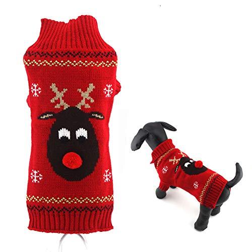Nilefen Weihnachts-Kostüm für Haustiere, mit Kapuze, für kleine und mittelgroße Katzen, Größe L (rot)