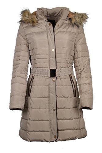Laeticia Dreams Damen Steppmantel Winterjacke Wintermantel Daunen Look S M L XL, Farbe:Beige;Größe:36/38