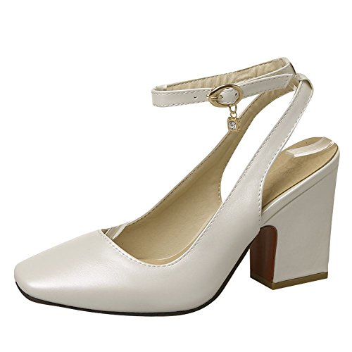 Mee Shoes Damen chunky heels ankle strap Schnalle Sandalen Weiß(PU)