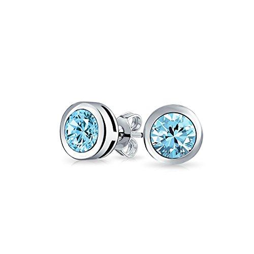 Minimalistisch 75 Ct Aqua Blau Runder Einfassung Solitär Aaa Cz Ohrstecker Silber Simulierten Aquamarin 925 Silber - Aquamarin Runde Ohrstecker
