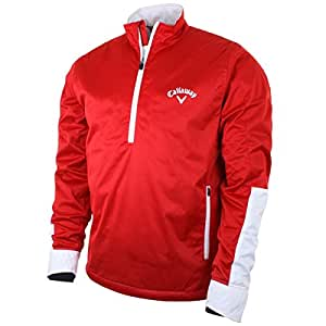 2015 Callaway Nautical Mens Weather Series Thermal Windproof 1/2 Zip Golf Jacket Salsa Medium