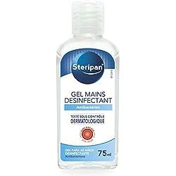 STERIPAN - Steripan Gel Antibactérien Pour Les Mains - Elmine Les Bactéries - Format Pratique - Parfum Agréable - 75 ML