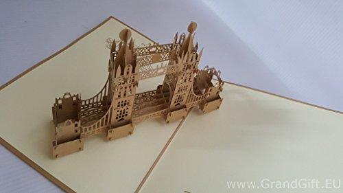 Einzigartige braun Tower Bridge 3D Pop up Grußkarten Jahrestag Baby Geburtstag Ostern Halloween Mutter Vater New Home NEW YEAR Thanksgiving Valentine Hochzeit Weihnachten
