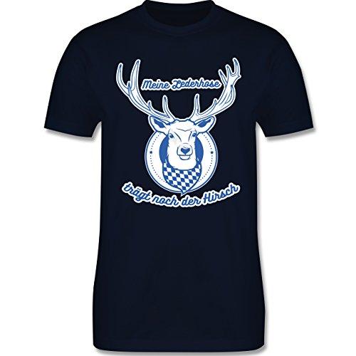 Shirtracer Oktoberfest Herren - Meine Lederhose Trägt Noch der Hirsch - Herren T-Shirt Rundhals Navy Blau