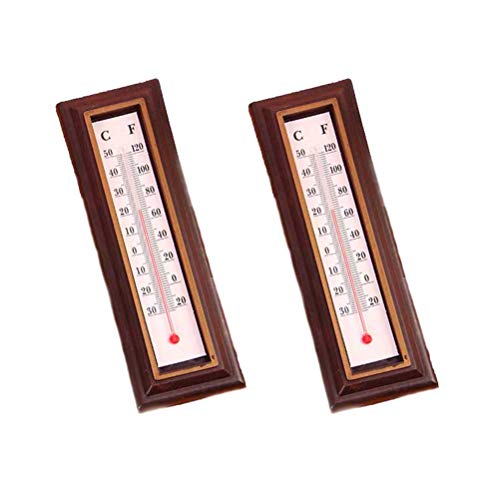 Vosarea Analoges Thermometer Celsius Fahrenheit Holz Thermometer Innen Außen Garten Dekoration 10PCS