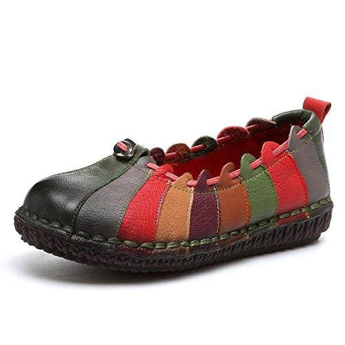 Socofy Donna Mocassini in Pelle Donne Loafers Comode Slip On Scarpe Casual Shoes Vintage Unico Strisce Contrasto Colore Ballerine Casual Espadrillas Scarpe Verde