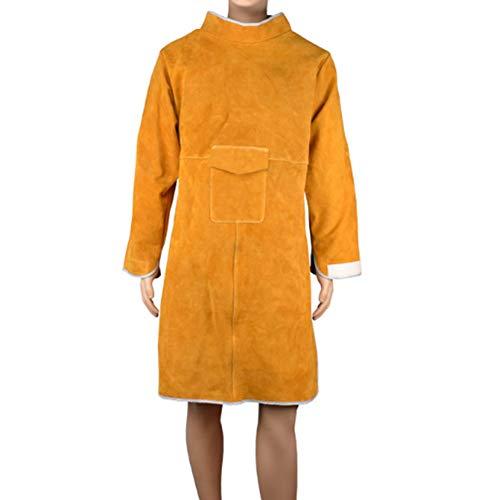 Schweißschürze Robustes Rindsleder mit Flammschutzhemd, Leder-Schweißermantel mit Ärmeln - 102 cm × 60 cm