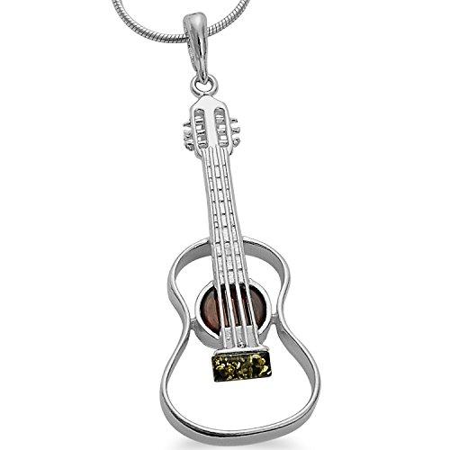 Musikinstrument Bernstein Gitarren XL Anhänger 925 Silber Schmuck Gitarre Kettenanhänger #1645 (Musik Note Bettelarmband)