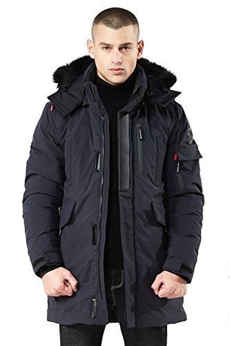 Harrms giubbotto imbottito da uomo, tinta unita, giacca parka imbottita cappuccio staccabile con dettagli in peluche per uomo, blu marino, l (petto 118cm, manica 66cm)
