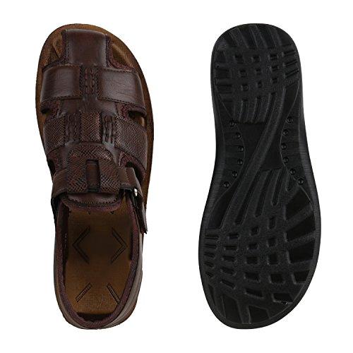 Herren Komfort Sandalen Bequeme Freizeit Schuhe Lederoptik Dunkelbraun