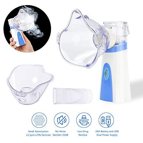 Aerosol a Pistone Inalatore Nebulizzatore Portatile Aerosol Ultrasuoni Silenzioso per Bambini...